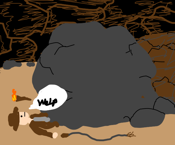 indiana jones gets crushed by the boulder