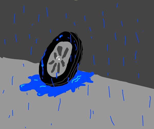 A wheel that's been rained on