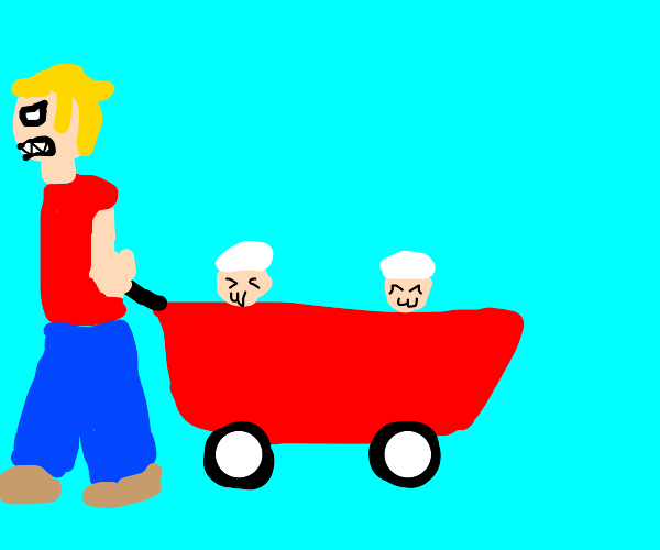 Angry boy carrying two toddlers in a wagon