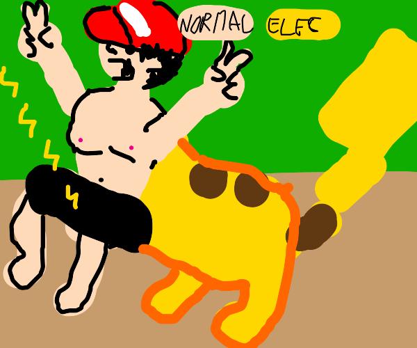 ash (pokemon trainer) as a centar w/ pikachu