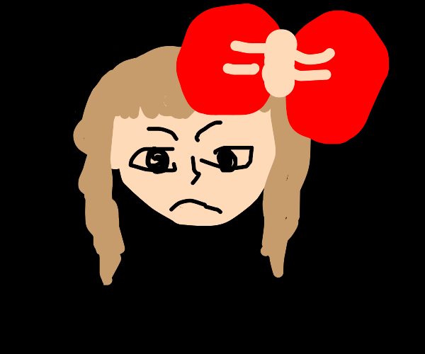 Girl with bow in her hair is angry