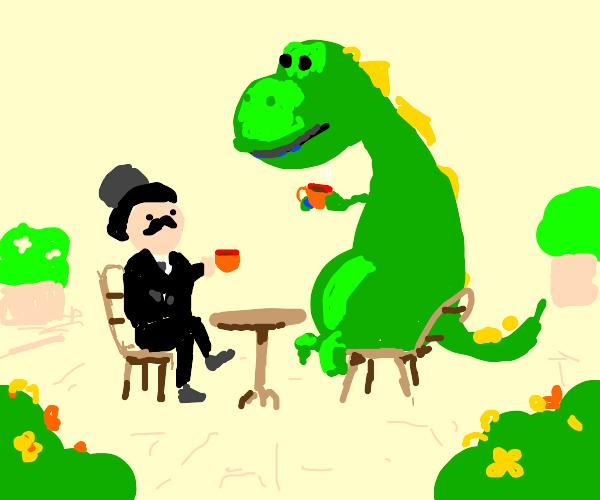 a gentleman with a dnosaur