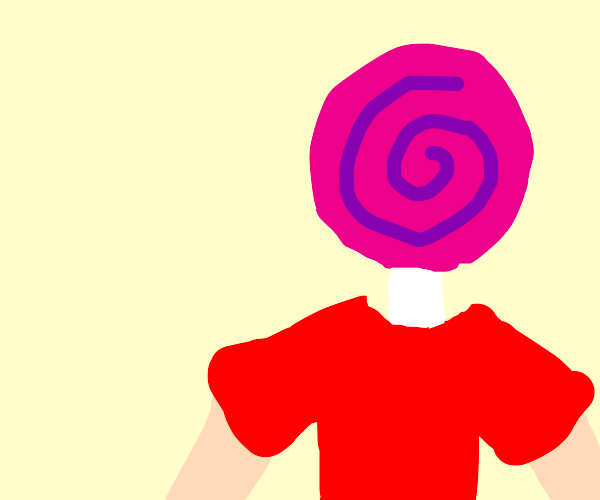 man with lollipop head