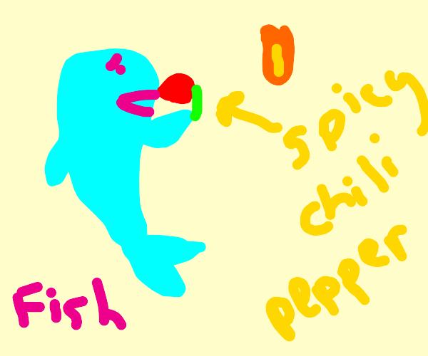 Fish eating chili pepper