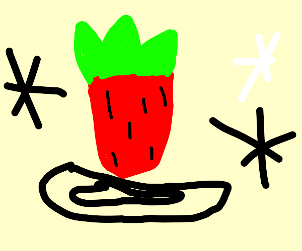 very detailed strawberry in the void
