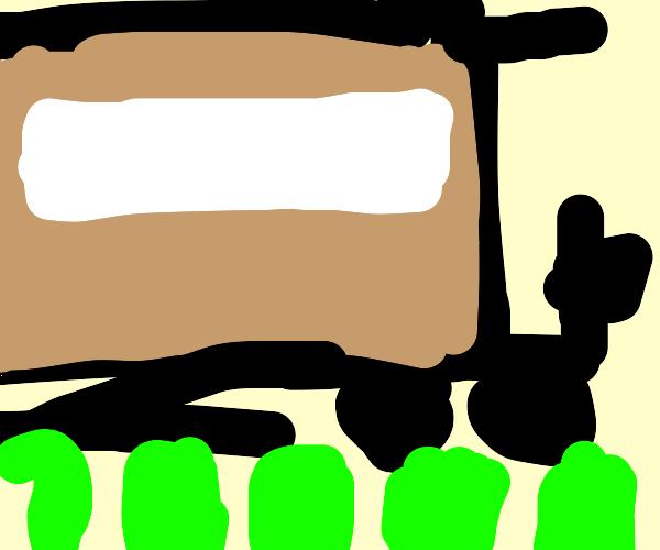 A trolley car on a green fence