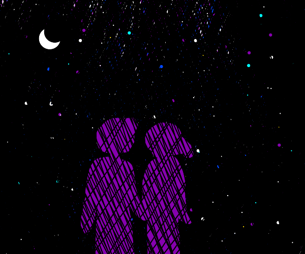 Starry Night Sky with 2 People Holding Hands