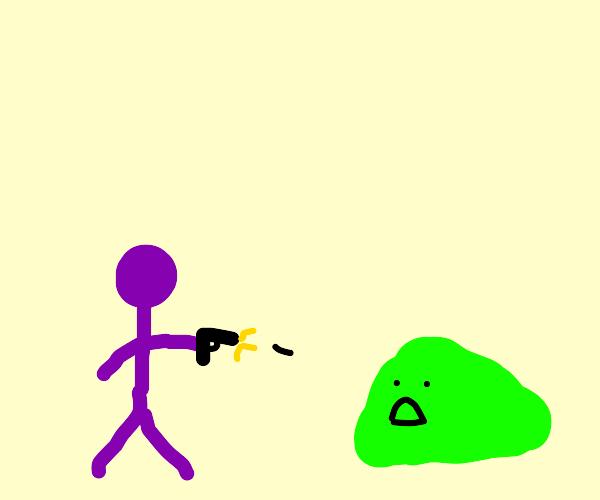 purple man murders green blob