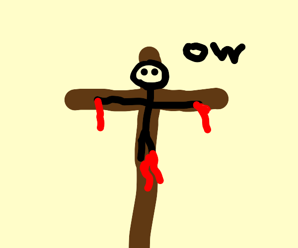 Jesus says ouch when getting crucified