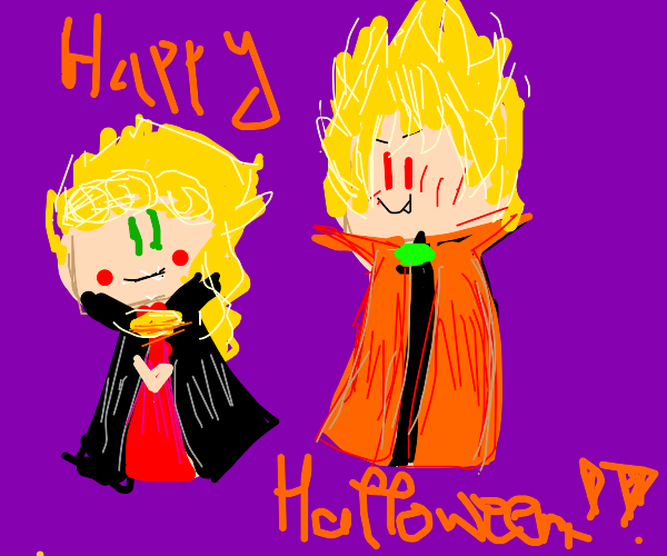 Giorno and DIO dressed for Halloween