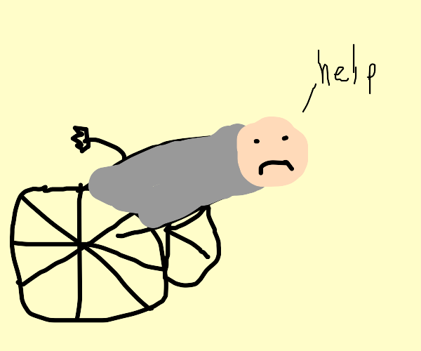 Worried man gets shot out of a cannon