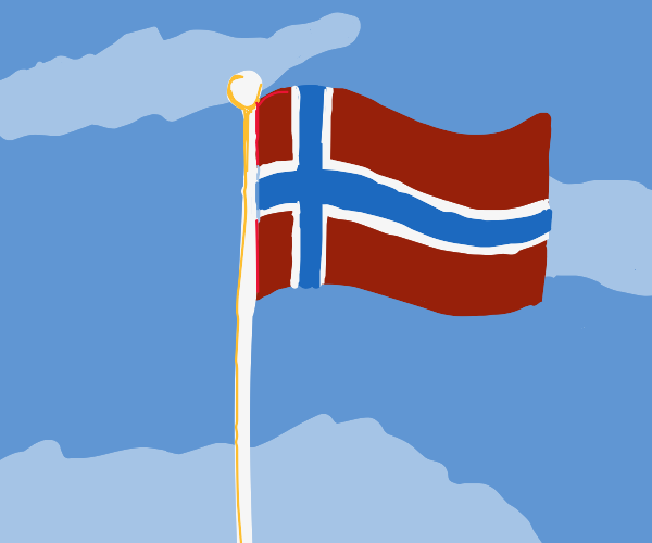 Norway's flag in the wind