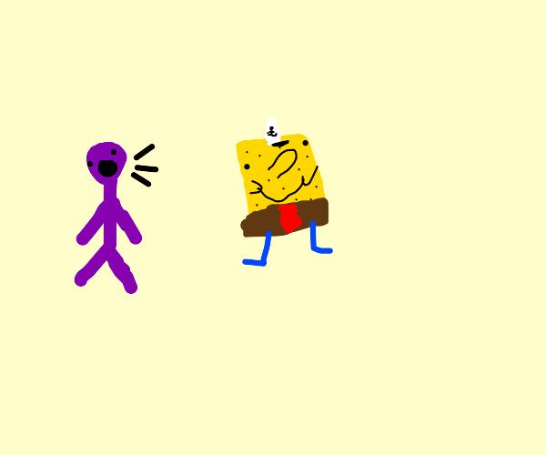 A purple guy speaks to armless spongebob