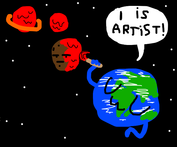 Earth keeps painting the other planets red