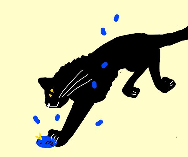 Blue Bird getting bodyslammed by a Cat