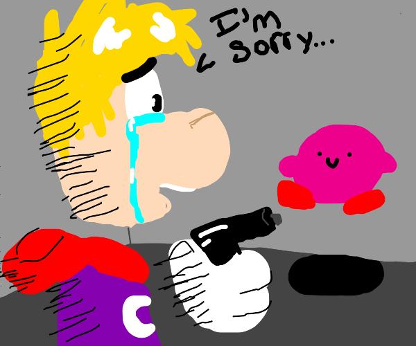 Raymond looks at Kirby with a gun