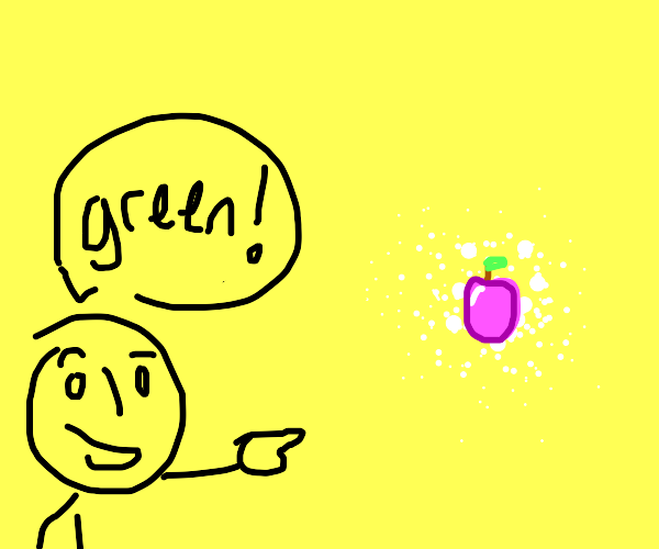 man points at pink apple and yells green