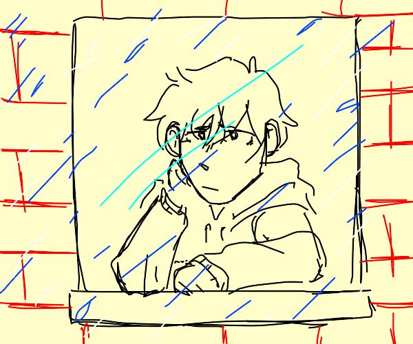 Sad guy watching the rain While Thinking