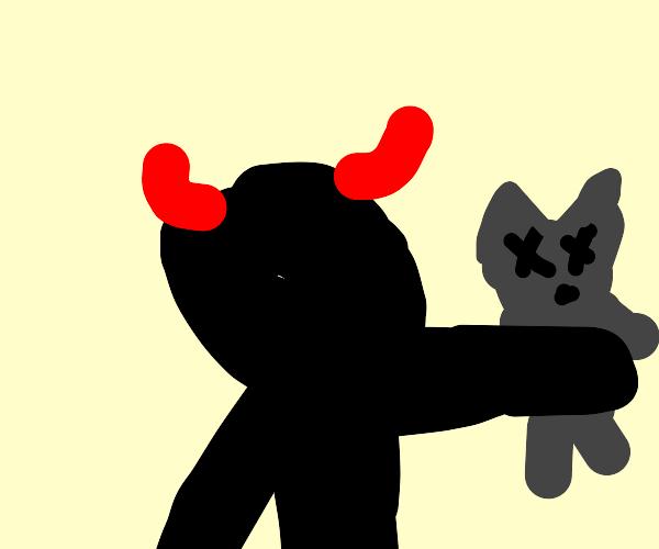 Black demon holding dead cat