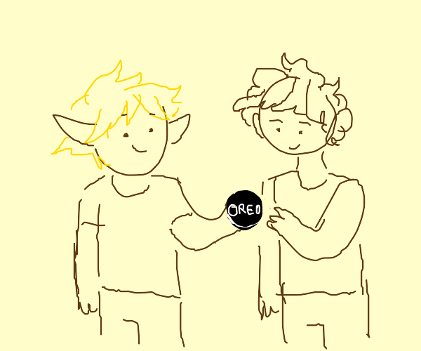 Blonde elfboy gives oreo to the brownhair boy
