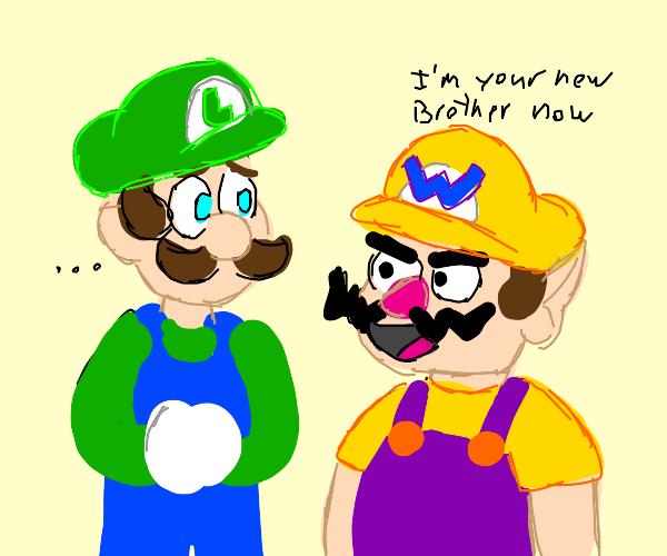 Luigi meeting Wario