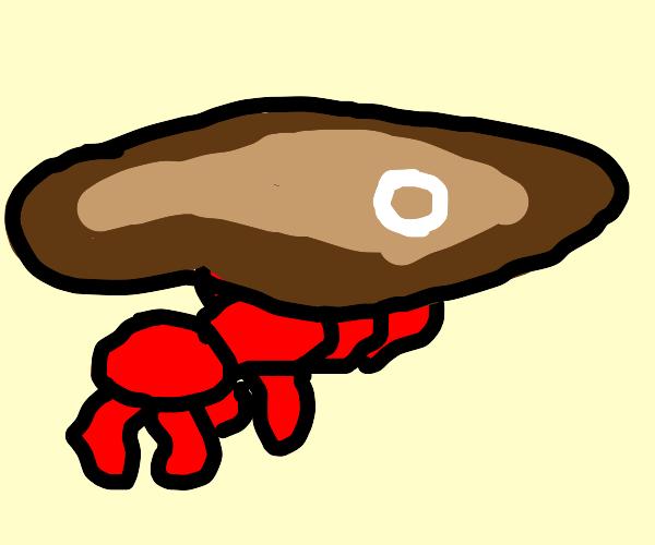 red ant holding steak