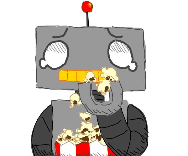 robot eats popcorn in pain