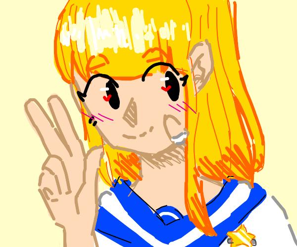 Japanese School Girl w/ Bandage & Star Pin