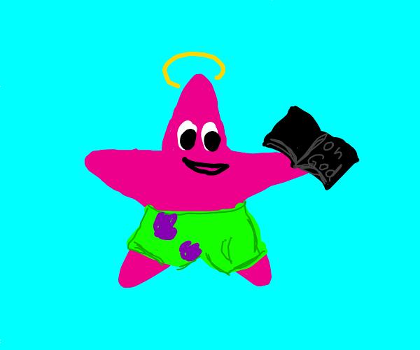 Patrick from Spongebob prays to his god