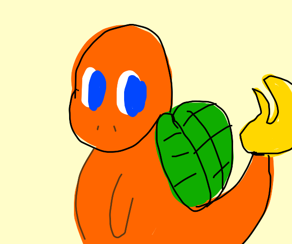 Charmander with a turtle shell