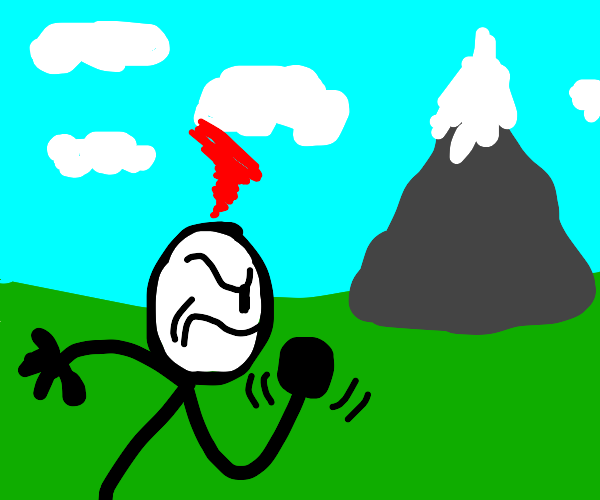 stick figure getting mad at mountain