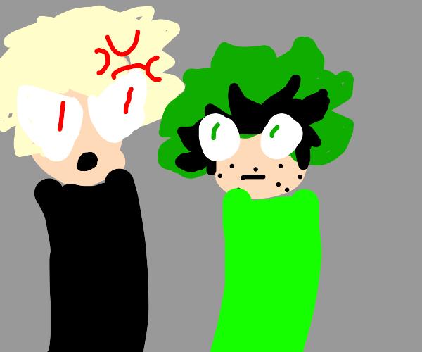 Bakugo yelling at Deku