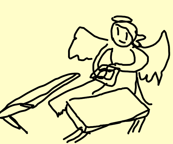 Angel saws a table in half