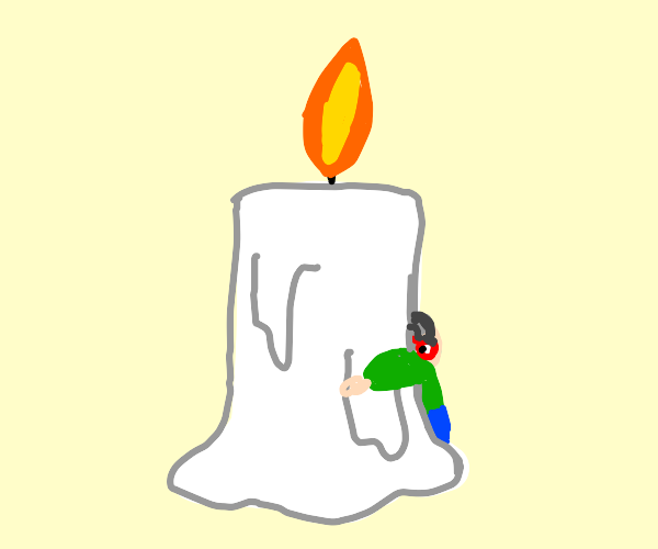 Grandfather hugging a Candle