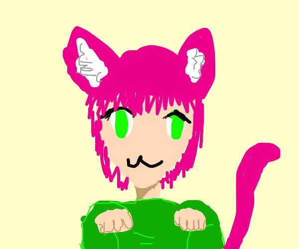 Neko girl in green sweatshirt