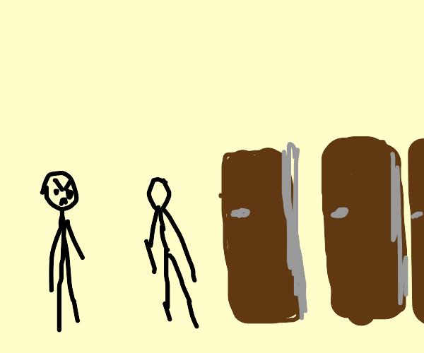 Man angry at man opening a lot of doors