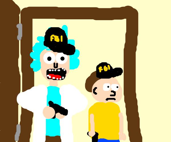 Rick and Morty raid someone's house as FBI.
