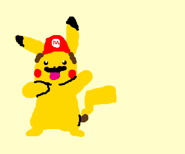 Pikachu as Mario and Blastoise as Bowser