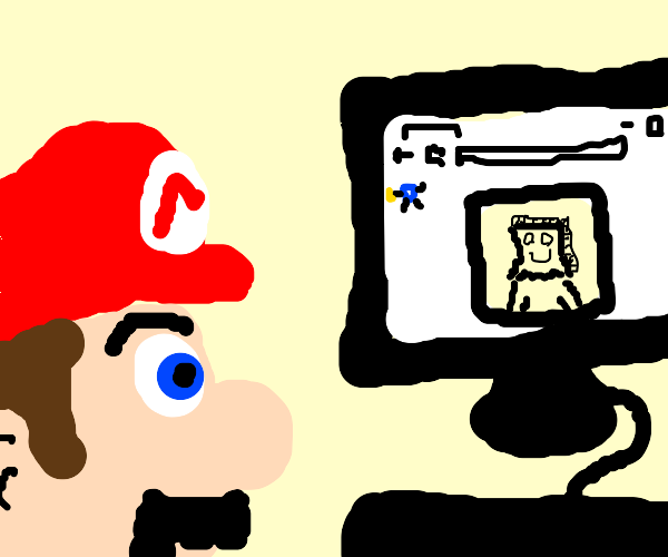 Mario pretends to be anon online