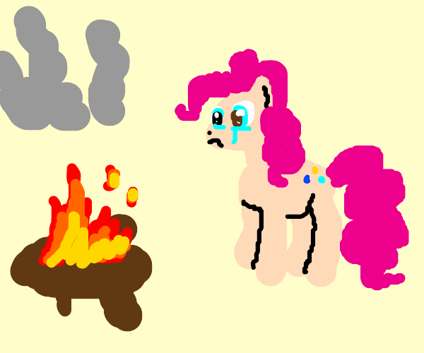 Pinkie pie is sad her detective Coats on fire