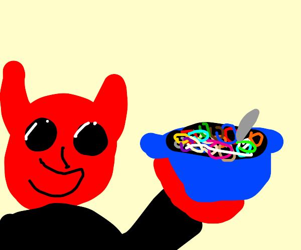 demon eating fruit loops