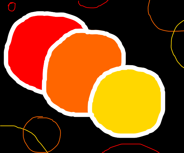 A red,an orange and a yellow circle