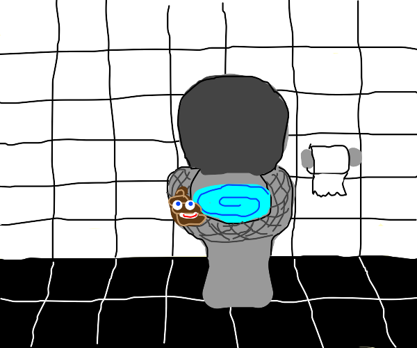 Poop emoji on toilet seat.
