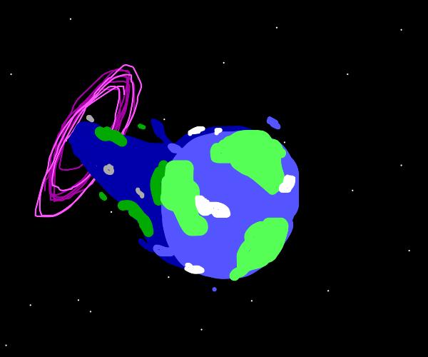 Earth enters a wormhole