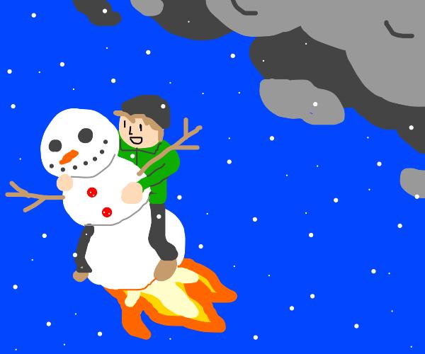 Kid riding snowman