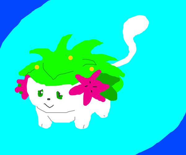 Cute Shaymin with a white Mew-like tail