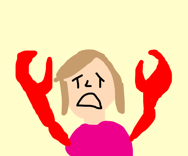 girl doesn't like her new crab arms