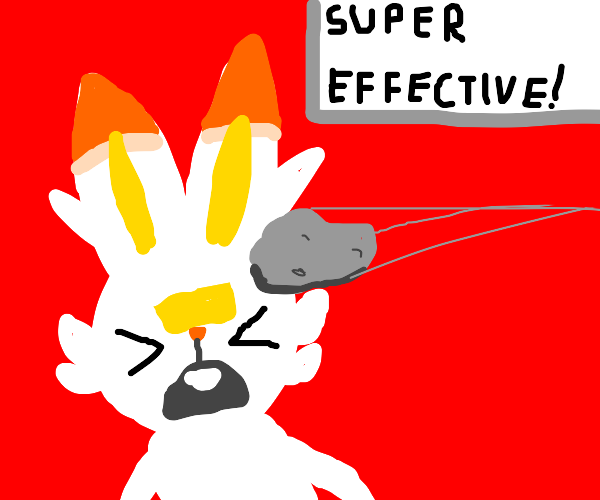 Scorbunny gets hit with a Stone