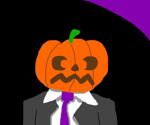 Well dressed man with pumpkin head