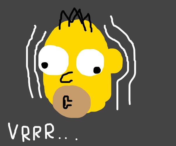 homer simpson vibrating